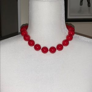 Vintage large red bead necklace